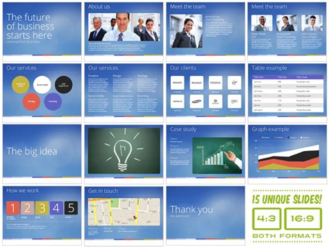 universal pitch deck nine powerpoint presentation templates on creative market