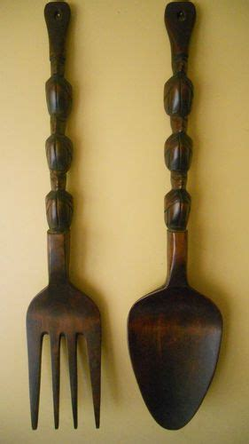 wood wooden fork and spoon wall hanging tiki totem 28 quot large vi