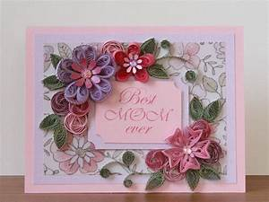 "Handmade Quilling Greeting Pink ""Best MOM Ever"" Card with ..."