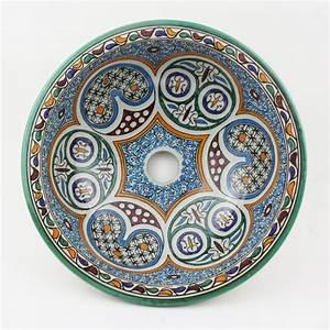 Bemalte Keramik Waschbecken : orientalisches handbemaltes keramik waschbecken fes30 bei ihrem orient shop casa moro ~ Markanthonyermac.com Haus und Dekorationen