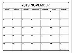 November 2019 Calendar month printable calendar