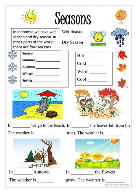 187 Free Esl Seasons Worksheets