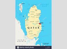 Politische Landkarte Katar mit Hauptstadt Doha