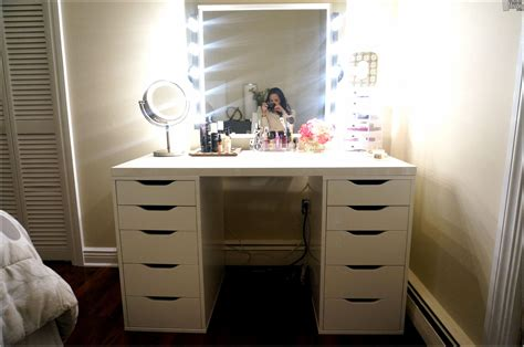 vanity table with lighted mirror and bench hd home wallpaper