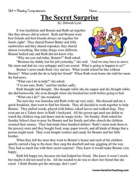 Reading Comprehension Worksheet  The Secret Surprise