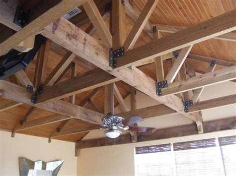 exposed cedar trusses with stained tongue and groove