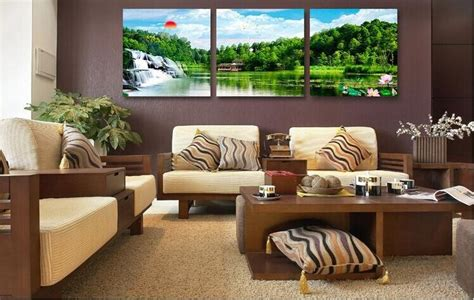 Feng Shui Art For Living Room : 3 Piece Canvas Wall Art Hanging Feng Shui Picture On The