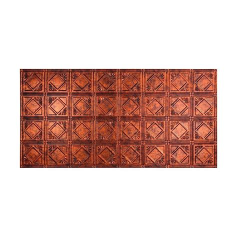 fasade traditional 4 2 ft x 4 ft glue up ceiling tile in moonstone copper g53 18 the home