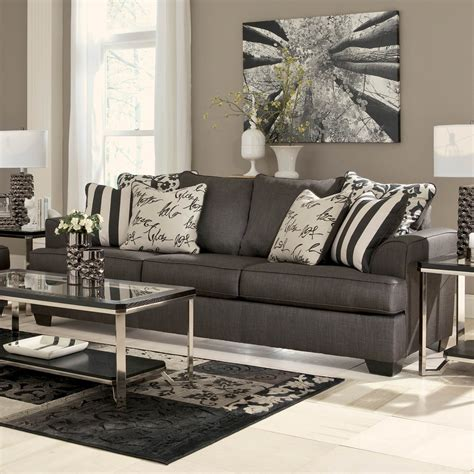 signature design by levon sofa charcoal contemporary sofas couches home