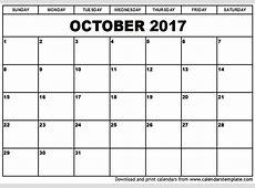 October 2017 Calendar weekly calendar template