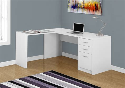 i 7136 computer desk white corner with tempered glass