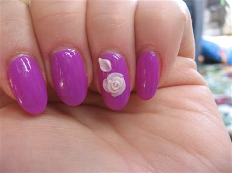 Polish With 3d Nail Art Rose