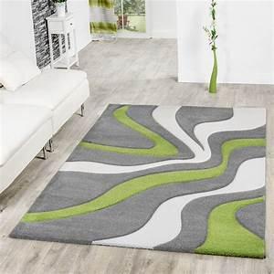 Teppich Wohnzimmer Grau : teppich grau gr n wei wohnzimmer teppiche modern mit konturenschnitt moderne teppiche ~ Markanthonyermac.com Haus und Dekorationen