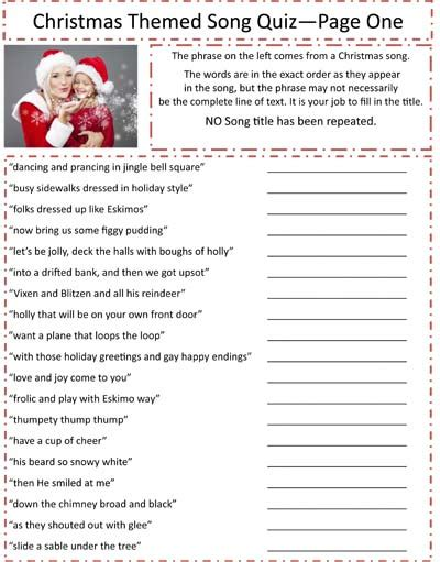Printable Christmas Trivia Questions Answers  Printable Christmas Songs  Christmas Games