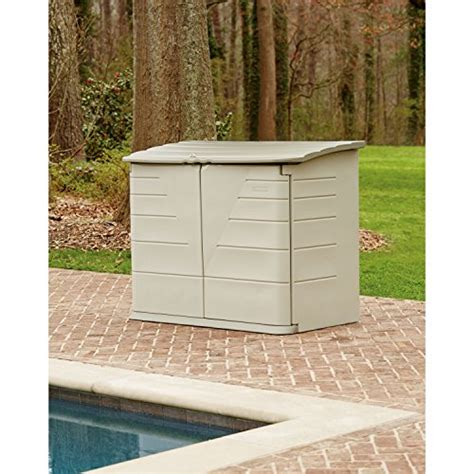 rubbermaid outdoor horizontal storage shed large 32 cu ft olive sandstone ebay