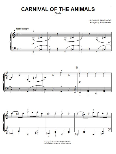 carnival of the animals finale sheet by camille saens easy piano 75614