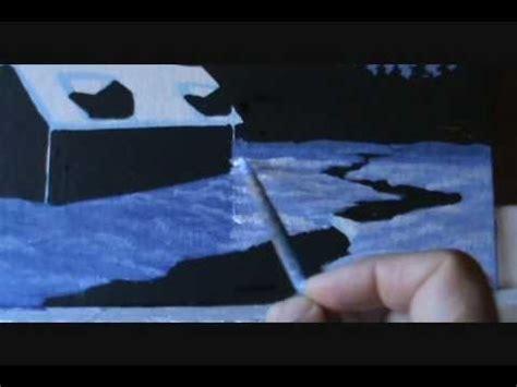 peindre un paysage de neige 2 3 cabane chalet de montagne carte no 235 l lecon acrylique sur toile