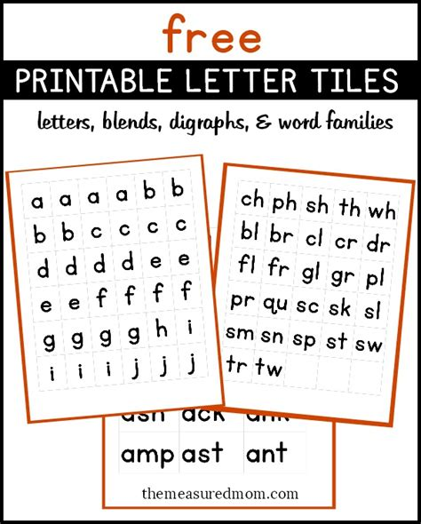 free printable letter tiles for digraphs blends and word endings printable letters free