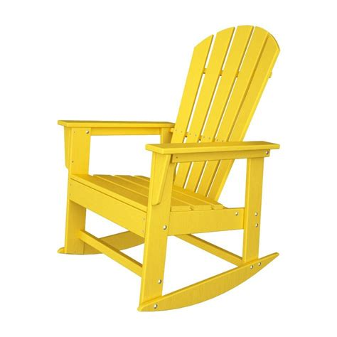 shop polywood south lemon recycled plastic rocking casual adirondack chair at lowes