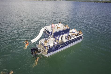 Pontoon Party Boat With Slide by Catalina Platinum Funship Pontoon Boat Avalon Pontoon Boats