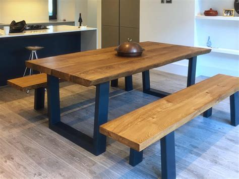 Rustic Dining Table Set With Bench