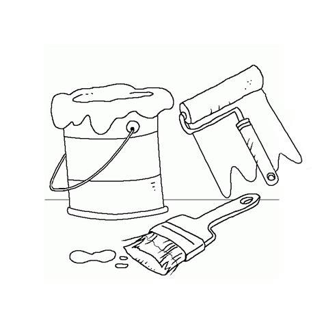 coloriage bricolage pot de peinture rouleau et pinceau a imprimer gratuit