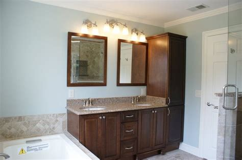 vanity and linen tower traditional bathroom new york by world contracting llc