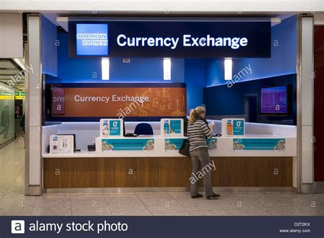 bureau de change office operated by american express at heathrow stock photo royalty free image