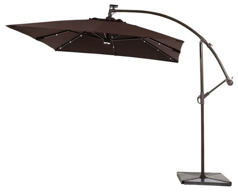 abba patio 8 ft solar powered 32 led cantilever patio umbrella with base coffee modern