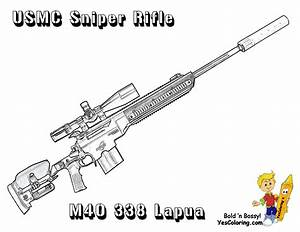 Elegant Sniper Rifle Army Coloring Page At Yescoloring ...