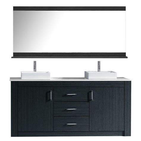 60 inch modern sink bathroom vanity grey finish top