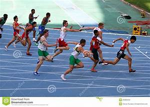 Athletes On The 4 X 100 Meters Relay Race Editorial Stock ...
