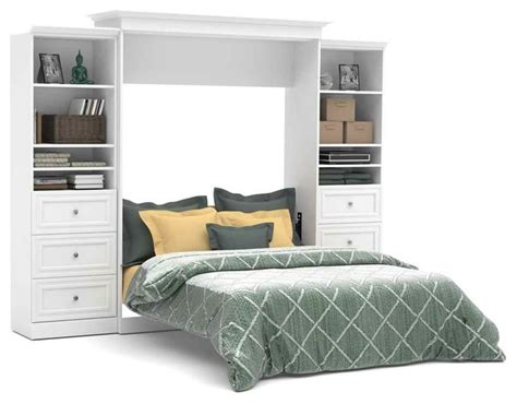 wall bed and storage units with drawers in white