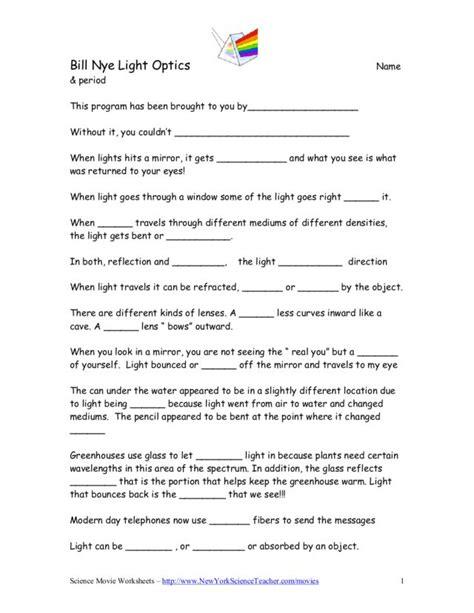 Bill Nye Science Guy Motion Worksheets Bill Best Free Printable Worksheets
