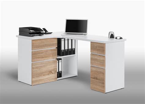 bureau informatique d angle contemporain avec rangement ch 234 ne sonoma blanc nayade bureaux et