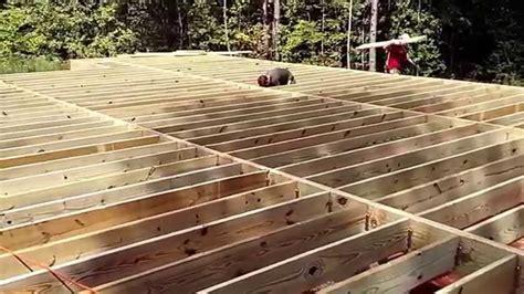 floor joist cabin in the woods