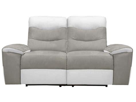 canap 233 fixe relaxation 233 lectrique 2 places en tissu foster coloris gris blanc vente de canap 233