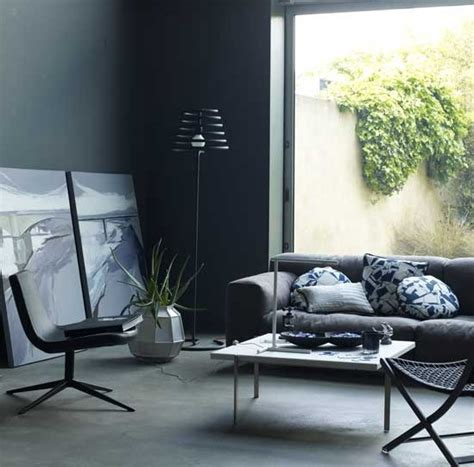 simple black and grey living room home interiors
