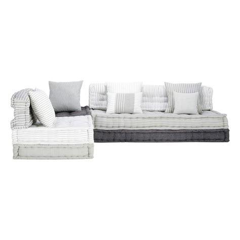 banquette d angle modulable 6 places en coton grise et blanche honfleur maisons du monde