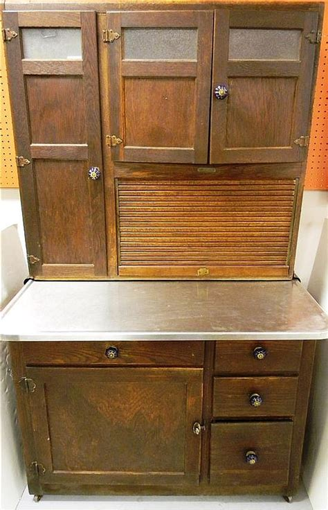 hoosier cabinet with new stainless steel counter oak constr