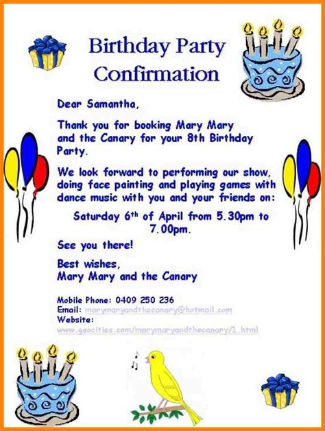 An Invitation Letter For A Birthday Party  Letters Free