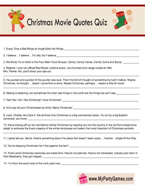 Free Printable Christmas Movie Quotes Quiz