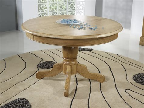 table ronde pied central en ch 234 ne massif de style louis philippe diametre 120 2 allonges de 40