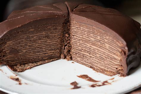 chocolate crepe cake chocolate hazelnut crepe cake cross section
