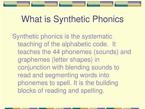 Ppt  Synthetic Phonics Powerpoint Presentation Id4013043