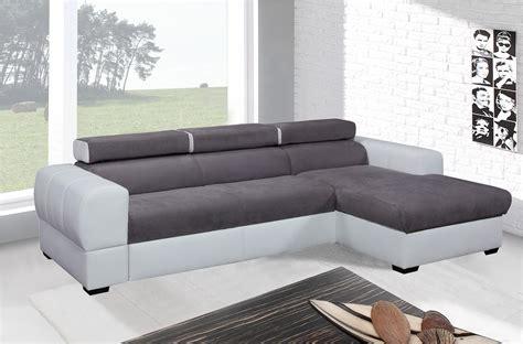 canap 233 d angle convertible 5 places blanc et gris