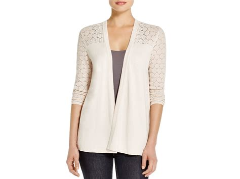 Avec Lace-up Pointelle Cardigan In White