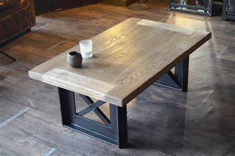 table basse bois blanchi acier style industriel sur mesure quot design eiffel quot bass and tables