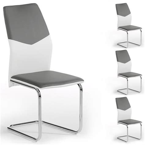 lot de 4 chaises leona pu blanc gris achat vente chaise salle a manger pas cher couleur et