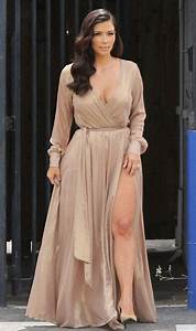 Dress: maxi dress, kim kardashian, shoes, wrap dress, nude ...